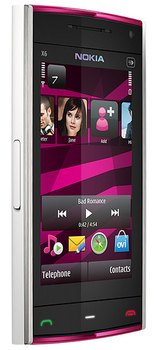 фото Nokia X6 16 Gb белого цвета с розовыми вставками (Pink on White)
