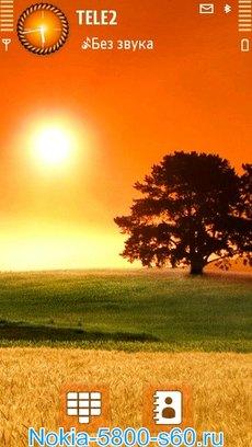 Тема Sun and Tree для Нокиа 5800, 5230, 5530, N97, X6